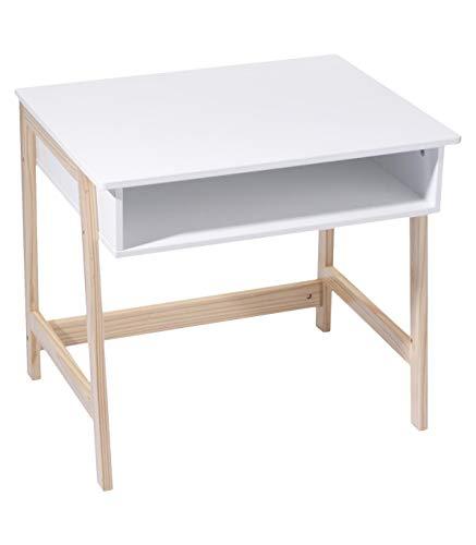 ATMOSPHERA Holzschreibtisch für Kinder - praktisch und raffiniert - skandinavischer Style - Farben WEIß und natürliches Holz