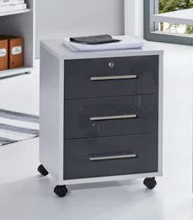 BMG-Moebel.de Büromöbel komplett Set Arbeitszimmer Office Edition in Lichtgrau/Anthrazit Hochglanz (Rollcontainer)