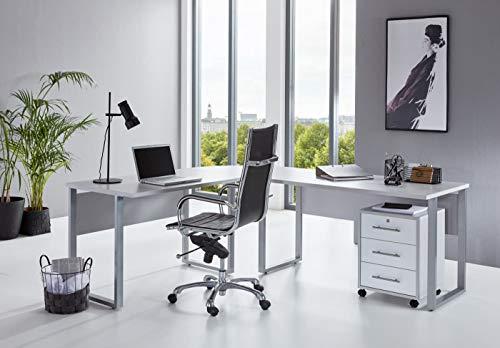 BMG-Moebel.de Büromöbel komplett Set Arbeitszimmer Office Edition in Lichtgrau/Weiß Hochglanz (Schreibtisch mit Rollcontainer)