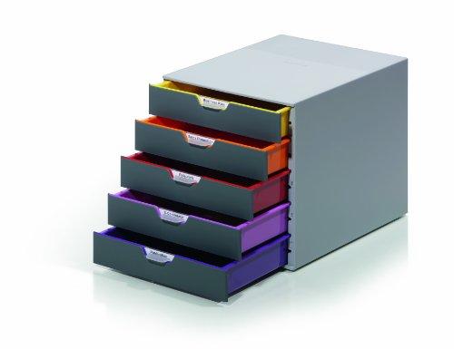 Durable 760527 Schubladenbox A4 (Varicolor) 5 Fächer (mit Etiketten zur Beschriftung) mehrfarbig