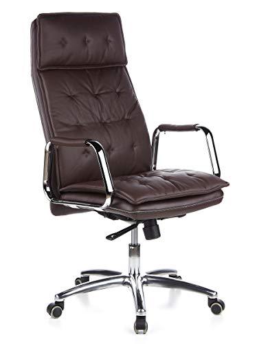 hjh OFFICE 600924 Chefsessel Bürostuhl Villa 20 Nappaleder Braun Büro-Sessel mit hoher Rückenlehne