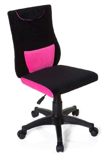 hjh OFFICE 670490 Kinderschreibtischstuhl KIDDY PRO Stoff Schwarz/Pink ergonomischer Jugend-Drehstuhl, höhenverstellbar
