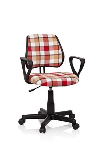 hjh OFFICE 725110 Kinderdrehstuhl KIDDY CD Square Stoff Rot/Weiß Kinder Schreibtischstuhl Karo, Rückenlehne höhenverstellbar