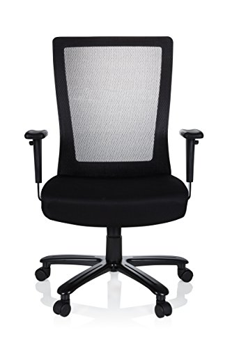hjh OFFICE 738010 Bürostuhl XXL Extender Netzstoff Schwarz Schreibtischstuhl bis 180 kg belastbar