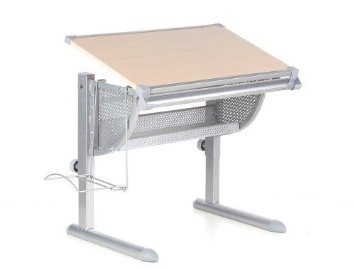 hjh OFFICE Kinderschreibtisch Belia höhenverstellbar + neigbar buche/Silber
