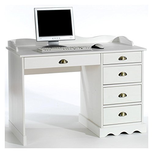 IDIMEX Schreibtisch Bürotisch Colette Arbeitstisch mit Aufsatz, Kiefer massiv, weiß lackiert, Landhausstil