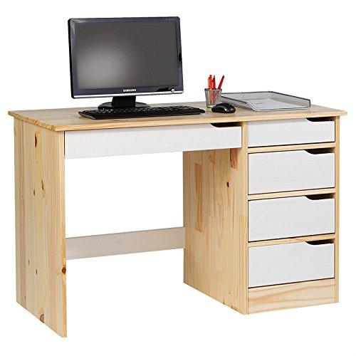 IDIMEX Schreibtisch Hugo Kinderschreibtisch Jugendschreibtisch Schülerschreibtisch, Kiefer massiv lackiert Natur/weiß