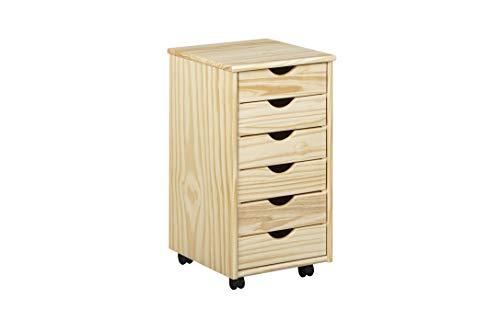 Inter Link Rollcontainer Bürocontainer Schubladenschrank Büroschrank Kiefer Massivholz Natur lackiert