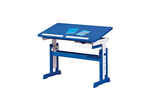 Inter Link Schülerschreibtisch Schreibtisch Arbeitstisch Kinderschreibtisch Massivholz MDF Blau und weiss lackiert