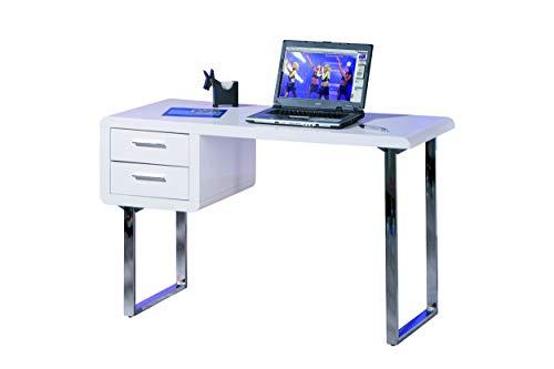 Inter Link Schreibtisch Bürotisch Computertisch Arbeitstisch Laptoptisch MDF Weiss Hochglanz BxHxT: 120x76x55 cm