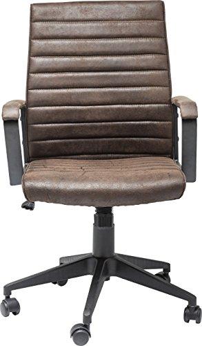 Kare Design Bürodrehstuhl Labora, moderner Designer Schreibtischstuhl mit Armlehnen und Gasdruckfeder, höhenverstellbar, Braun (H/B/T) 105x57x61cm