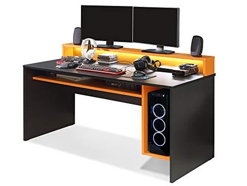 moebel-eins TEZO II Gaming Tisch Schreibtisch Jugendschreibtisch Kinderschreibtisch Schülerschreibtisch Zeichentisch Pult inkl. LED-Beleuchtung bunt, Material Dekorspanplatte