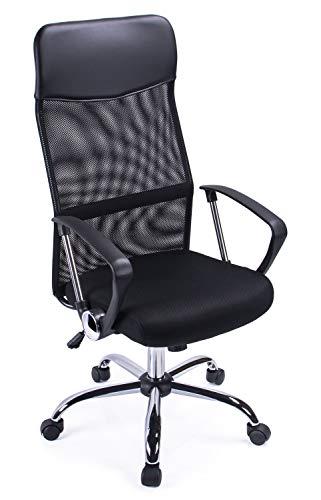 Poptoy Hohe gebogen Mesh Home Bürostuhl Chefsessel Computer Höhe verstellbar Drehstuhl Schreibtisch Stuhl Schwarz