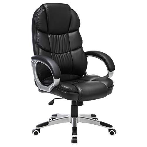 SONGMICS Bürostuhl Chefsessel Drehstuhl Computerstuhl SGS EN12520 Sitzhöhenverstellung office Stuhl Polsterung, OBG24B