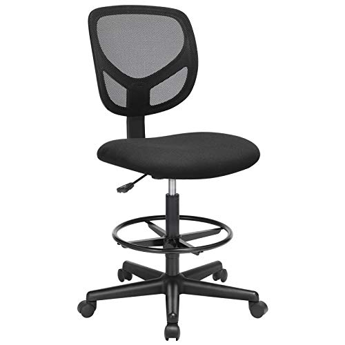 SONGMICS Bürostuhl, Ergonomischer Arbeitshocker, Sitzhöhe 53,5-73,5 cm, Hoher Arbeitsstuhl mit verstellbare Fußring, Belastbarkeit 120 kg, Schwarz OBN15BK