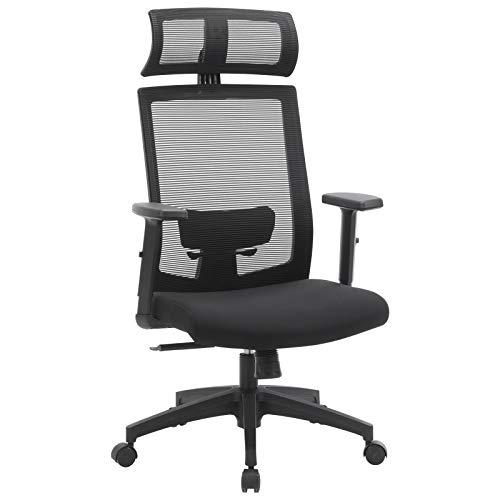 SONGMICS Bürostuhl, Schreibtischstuhl mit Netzbespannung, ergonomischer Computerstuhl, 360° Drehstuhl, verstellbare Lendenstütze, mit Kopfstütze, arretierbarer Neigungswinkel bis 120°, schwarz OBN55BK