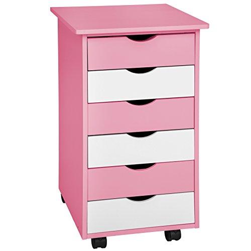 TecTake 800055 Rollcontainer mit Rollen und 6 Schubladen - Diverse Farben - (Pink | Nr. 400924)
