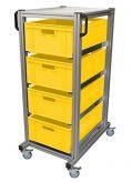 Aluminium-System-Rollwagen Avaro-101-TK incl. 4 Euro-Behälter, gelb, (600x400x210 mm)