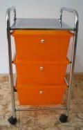 Badschrank, Badtrolley, Rollcontainer, Büroschrank, Rollen, 3 Schubladen, Badregal (Orange)