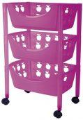 Big Badezimmer Trolley / Badezimmer Rollwagen Kunststoff in verschiedenen Farben (pink)