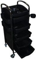 FIGARO rollbarer Beistellwagen Boy Rack mit Ablage sowie 5 Kunststoffwannen Farbe schwarz