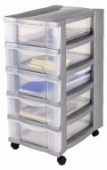Rollcontainer, Schubladenschrank, Bürocontainer, Rollwagen, Werkzeugschrank, Schubladenwagen - mit 5 transparenten Schubladen und...