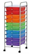 VARILANDO Schubladen-Trolley, 10 Schubladen, 5 Farben, Ablagekörbe, Küche,Bad,Aufbewahrung diverse