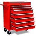 vidaXL Werkstattwagen 7 Fächer Werkzeugwagen Kugelgelagert Werkzeug Rollwagen Rot