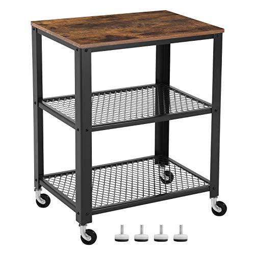 VASAGLE Servierwagen, Küchenwagen, Rollwagen, Küchenregal auf 4 Rollen, Stahlgestell, 3 Ablagen, für Küche und Wohnzimmer, Industrie-Design, vintagebraun-schwarz LRC78X