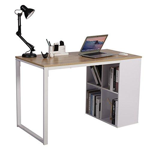 WOLTU® Schreibtisch TSG26hei Computertisch Bürotisch Arbeitstisch PC Laptop Tisch, in Melamin, mit 4 Ablageflächen, Gestell aus Stahl, 120x60x75cm(BxTxH), Holz, Eiche